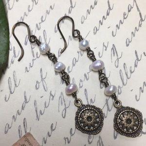 Victorian freshwater pearls ant brass earrings